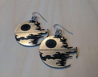 Shiny DeathStar Earrings, GeekStar Star Wars Geek Jewelry, Lasercut Silver Acrylic Hypoallergenic