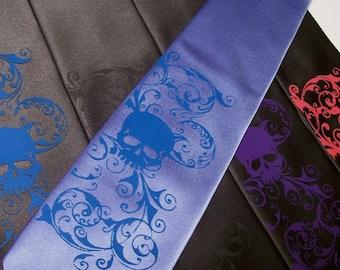 Skull necktie custom colors print to order RokGear original designs Mens necktie