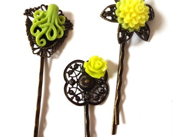 Octopus Bobby Pin Set-Set of 3-Antique Brass-Kraken Hair Pins-Lime Green Hair Slides-Fashion Accessory-Neon Floral-Cephalopod Fans-Teen Gift