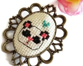 Panda Cross Stitch Brooch - Cute Wearable Art-Fiber Art Pin- Cute Bear Art-Pin Game Strong-Fashion Accessory-Kawaii Style-Panda Lover Gift