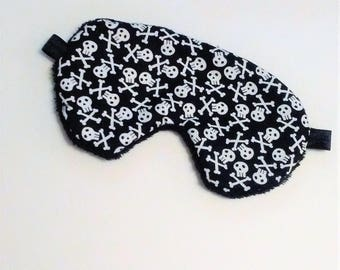 Pirate Sleep Mask, Skull & Crossbones Sleeping Mask, Travel Sleep Aid, Black Sleep Mask, Plush Light Blocking Eye Mask, Mens Sleep Mask