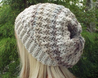 Tan and Gray Crochet Hat, Womens Slouchy Beanie, Oversized Slouch Beanie, Chunky Hat, Slouchy Hat, Winter Hat, Multicolor Slouch Hat