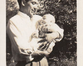 "Original Vintage Photograph Snapshot Man Dad Holding Baby Boy ""Peter & His Daddy"" 1946"