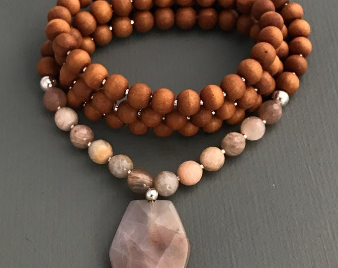 sunstone and sandalwood 108 bead mala necklace