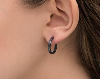 Sterling silver hoop earrings, oxidized 18x2mm