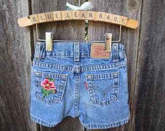 Girls 3T Vintage Levi Denim Shorts Embellished Upcycled Play Clothes Back to School Shabby Cottage Chic Toddler 3T