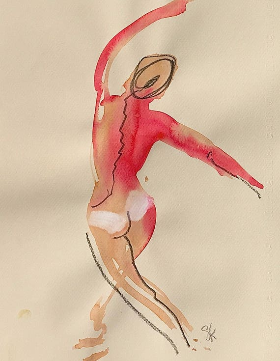 Nude painting of One minute pose 106.8 - Original nude painting by Gretchen Kelly