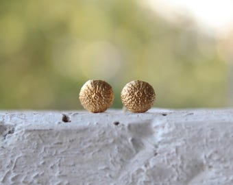 Urchin Stud Earrings Jewerly- 14k solid gold studs-Organic jewelry - Nature Inspired - Beach earrings - Shell Jewelry-Bridal earrings -Gift