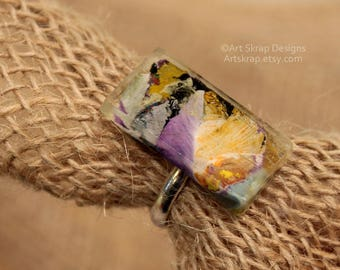 Lavender and Orange, Statement Ring, Made from Recycled Paint, Cocktail Ring, Art Jewerly, Art Ring, Artskrap, Costume Jewelry, Bold, Unique