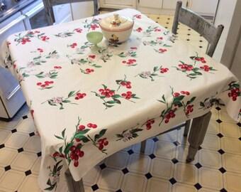 Vintage Wilendur Tablecloth Yummy Cherries