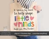 teacher tote bag - adorable teacher tote for kindergarten, first grade - teacher gift big heart to help shape little minds MSCL-028-b