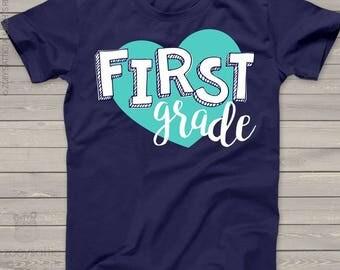 Teacher shirt -heart any grade DARK crew neck or vneck shirt - great back to school teacher shirt mscl-103