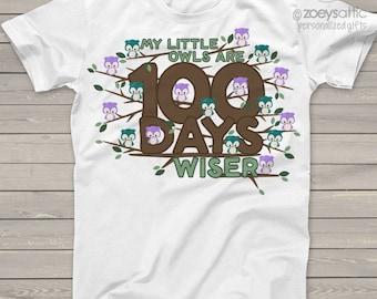 Teacher shirt - 100 Days wiser owl hundred day crew neck or vneck shirt   mscl-109
