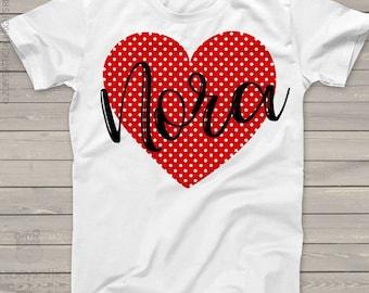 Valentine shirt polka dot red heart personalized valentine day Tshirt  snlv-038