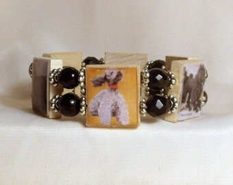 POODLE Bracelet / SCRABBLE / Unusual Gifts / Upcycled Jewelry / Dog Lovers