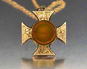 Antique Maltese Cross 9K Rose Gold Locket | Carnelian Agate Engraved Photo Locket | Rare Victorian Antique Locket Pendant Keepsake Locket