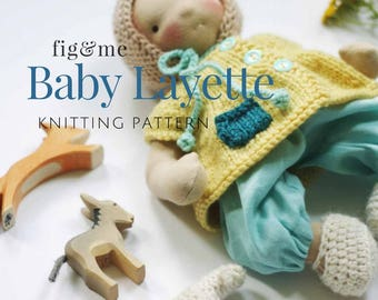 Doll Baby Layette | Knitting Pattern | Doll Clothing | waldorf doll clothes | doll knitting pattern | 5 patterns included.