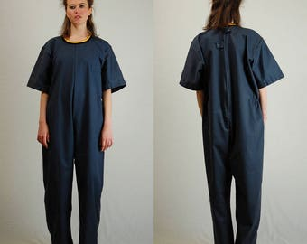 Work Wear Coveralls Vintage Dark Gray American Made Like New Utilitarian Androgynous Workwear Coveralls Jumpsuit (l xl)