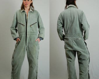 WALLS Work Wear Vintage Light Green Canvas WALLS Insulated Distressed Utilitarian Androgynous Work Wear Coveralls Jumpsuit (l xl)