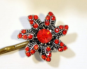 SALE - Flower Bobby Pin Red Bobby Pins Flower Bobbies Red Hair Pins Hair Accessories Date Night