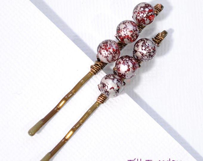 Pair of Red Bobbies Beaded Hair Pins Handmade
