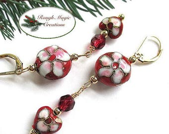 Red & Gold Cloisonné  Floral Earrings, Christmas Shoulder Dusters, Holiday Jewelry, Long Dangle Hearts Flowers, Romantic Gift for Woman E252