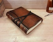 Leather Journal or Notebook, Brown Antiqued Leather - The Traveler