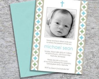 Baptism or Christening Invitation  – Photo Printable Personalized – Modern Circles Boy (Digital File)