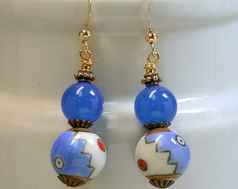Vintage Chinese Porcelain Red White Blue Bead Dangle Drop Earrings, Vintage Blue Chalcedony Beads- GIFT WRAPPED