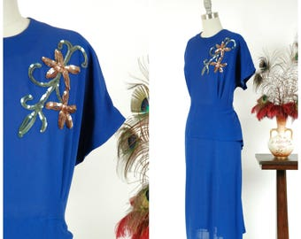 Vintage 1940s Dress - Striking Bright Royal Blue Rayon Crepe 40s Cocktail Dress with Sequin Applique and Peplum XL XXL