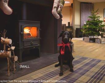 Christmas LOG DEER - Set of 2 - Mother & Baby - deer - reindeer - ornament - rustic - gift - home decor - garden decor - decoration