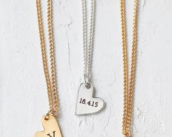 Custom Engraved Heart Necklace, Personalized Engraving Heart Necklace, Name Necklace, Initial Necklace, Gold Heart Charm