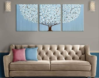 Extra Large Canvas Original Acrylic Painting of Tree - Blue Wall Art Triptych - 62x24
