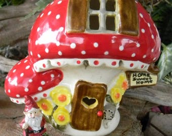 Ceramic Double MUSHROOM Red capped Fairy or  Gnome House  Lighted Night Light Amanita muscaria, commonly fly agaric amanita