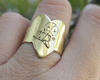 Voodoo doll ring,  voodoo doll, adjustable heart voodoo ring, Brass voodoo doll ring, Dark whimsy ring, Broken heart ring, Magical spell