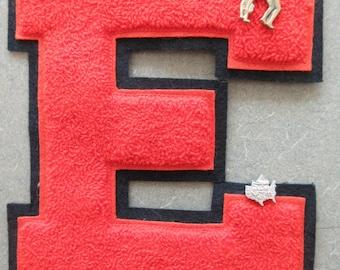 Vintage Varsity Letter E, Vintage Letter, School Letter Jacket Letter, Gymnastics Pin, Gold Tone Pin, Athletic Jacket Letter, 1970s Letter E