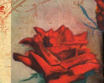 SPECIAL Red Roses Valentine print, romantic flower art, collectible Texas artist