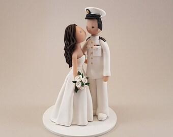Bride & Groom Military Custom Handmade Wedding Cake Topper