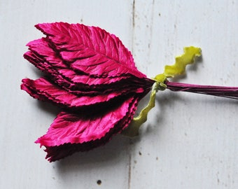 Vintage Ruby Colored Millinery Leaves - Bundle of 2 Dozen - Assemblage - Mixed Media