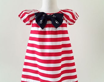 Girl Nautical Dress, Girls Birthday Dress, Red Stripes Peasant Dress, Red White and Blue Dress, Girl 4th of July Dress, Ready To Ship