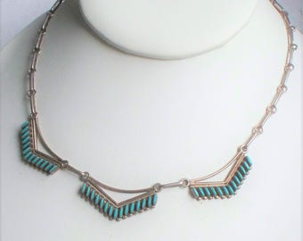 Native American Sterling Turquoise Necklace - Zuni, Turquoise, Needlepoint, Sterling Silver
