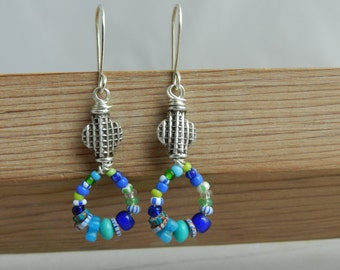 Antique Glass Striped Trade Bead Circle & Sterling  Earrings-Cool Blue Greens