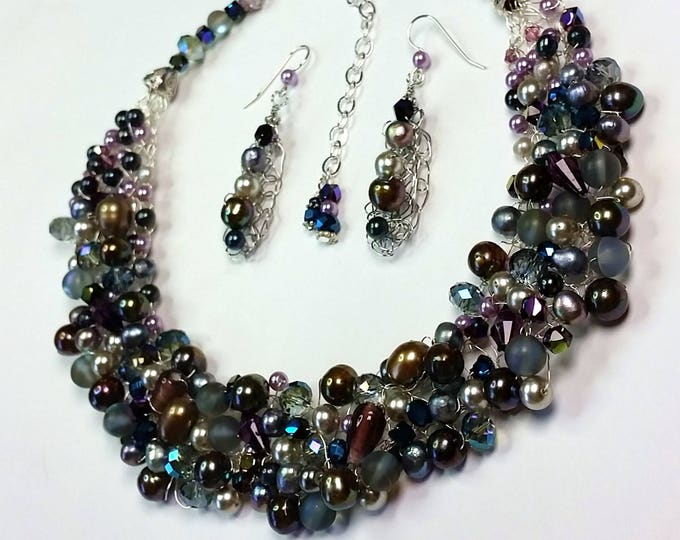 Midnite Blues Wire Crocheted Necklace and Earrings - Pearl and Crystal Jewelry - Blue and Purple Jewelry - Adjustable Length Jewelry