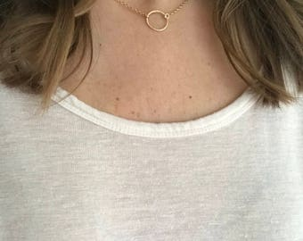 Gold circle necklace, simple necklace, layering necklace, circle ring necklace, simple gold necklace, everyday necklace,eternity necklace