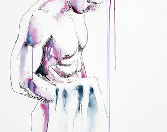 """Love on the Mind - Male Nude Figure - 22 x 30"""" ink on paper - original drawing by Brenden Sanborn"""