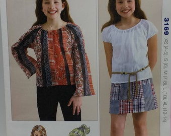 Kwik Sew Pattern 3169  Girls Short Sleeve and Long Sleeve Top and Patchwork Skirt Pattern
