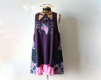 Purple Tank Shirt Plus Size Clothing Unique Boho Top Gypsy Tunic Dress Shirt With Pocket Long Length Bohemian Clothes Summer Top 3X 'MARISSA