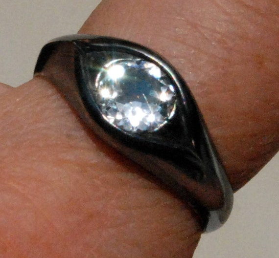 Large Sterling Silver and White Topaz Eye Ring