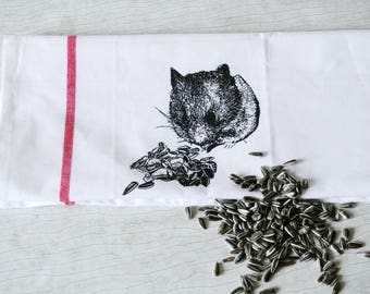 Fair Trade handwoven tea towel 'hungry hamster' white