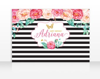 Kate Spade Peonies and Butterflies Backdrop, Peony Birthday, Butterfly Garden Large Scale Backdrop, 60x40 Inches, HIGH RESOLUTION FILE